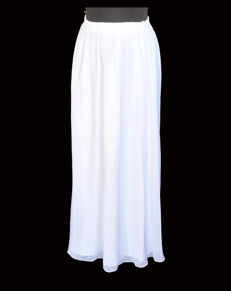 Long White Poly Chiffon Skirt