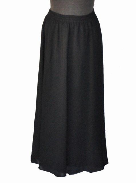 Long Black Poly Chiffon Skirt