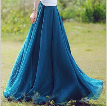 Long Chiffon Skirt in Blue u2013 Lily & Co.