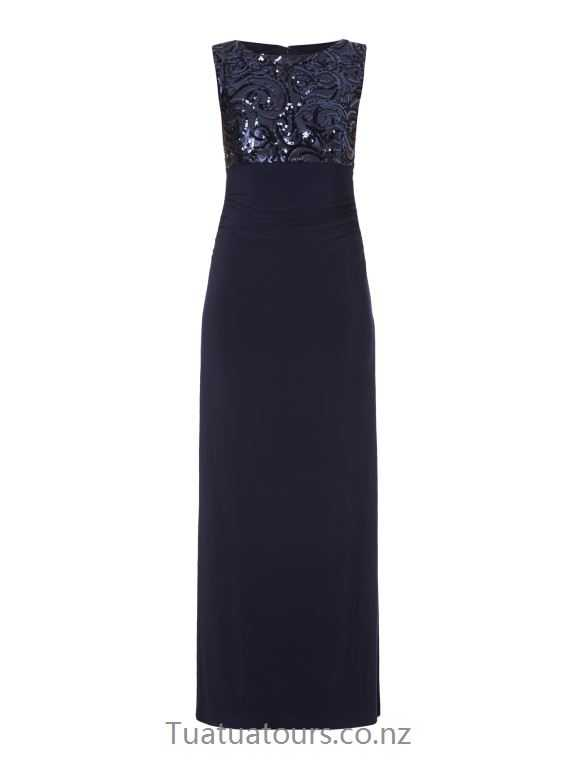 Casual Christian Berg Cocktail Navy blue heather evening dress with