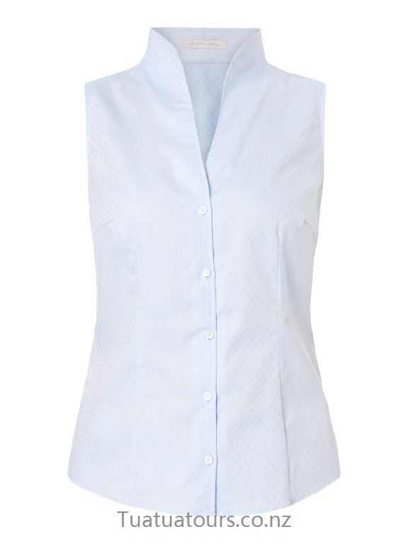 Comfortable Christian Berg Women Blue blouse top with cup collar