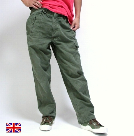 OUTLET for GREEN: British army 70-80's vintage Baker pants USED