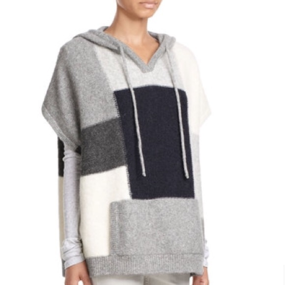 Closed Sweaters   Colorblock Poncho Hooded Sweater   Poshmark