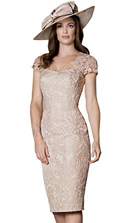 Amazon.com: Newdeve Women Light Champagne Lace Knee Length Formal