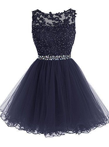 Modest Princess Lace Navy Blue Homecoming Dress Short Tulle Cocktail