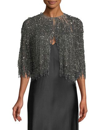 Beaded-Illusion Cocktail Jacket with Fringe Bottom by Naeem Khan at