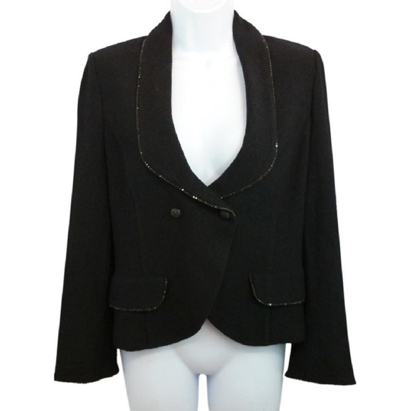St. John Jackets & Coats | St John Black Knit Cocktail Jacket Blazer