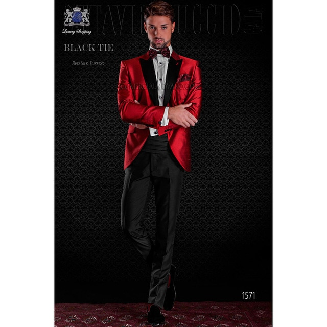 Bespoke Mens Casual Suits Red Party Cocktail Suits Festival Tuxedos