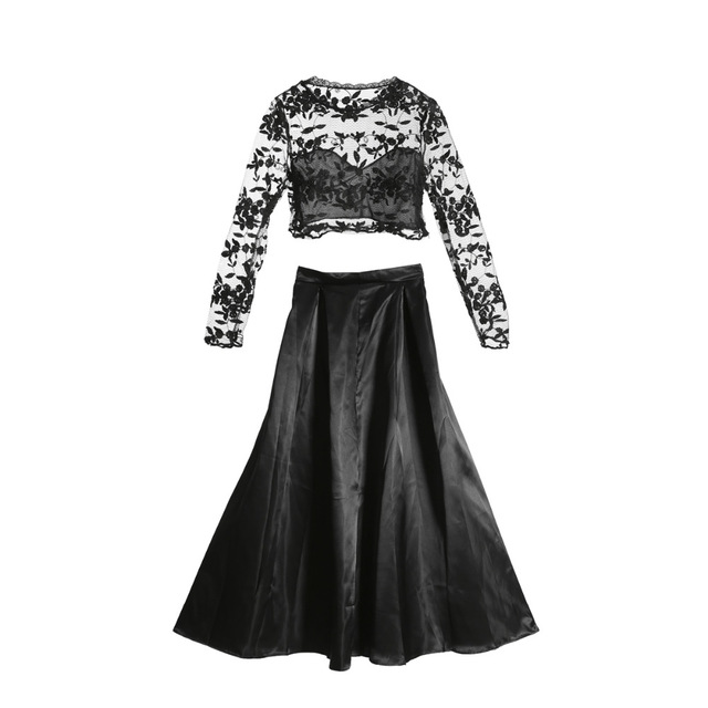 2018 new fashion Women Long Sleeve black lace crop top skirts sets