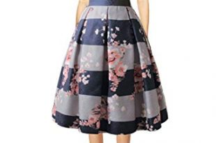 Hanlolo Women's Floral Midi Skirts High Waisted A-Line Cocktail