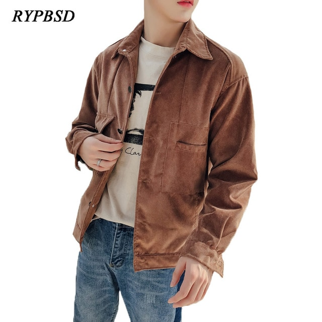 2018 Autumn Winter Corduroy Jacket Men Youth Loose Fashion Korean