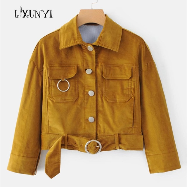 Autumn New European Street Short Corduroy Jacket Women Coats With
