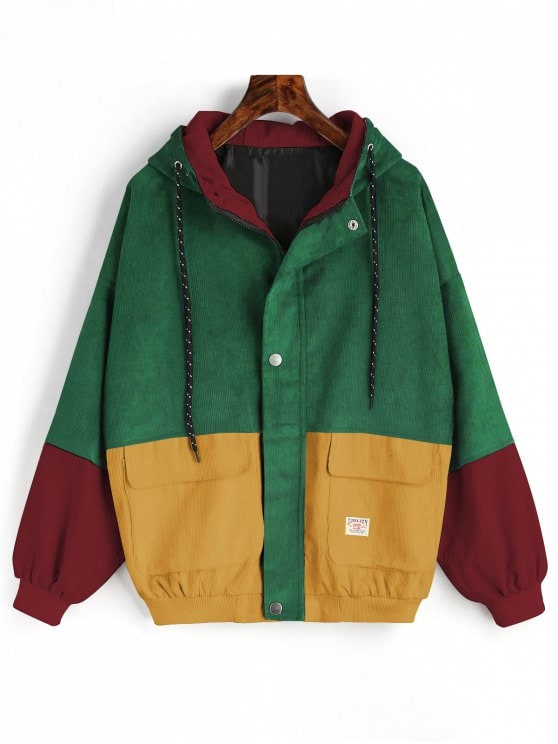 53% OFF] [HOT] 2019 Hooded Color Block Corduroy Jacket In GREEN S