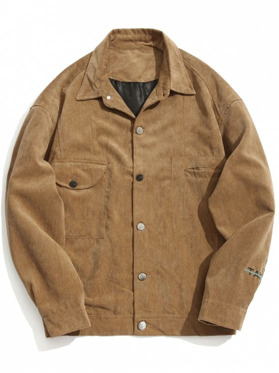 26% OFF] 2019 Take Five Graphic Corduroy Jacket In KHAKI M | ZAFUL