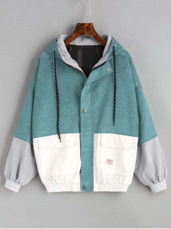 48% OFF] [HOT] 2019 Hooded Color Block Corduroy Jacket In BLUE GREEN
