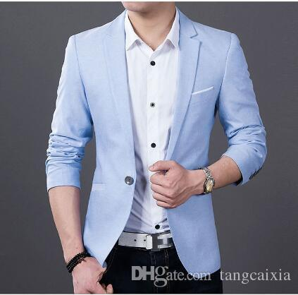 2019 Wholesale Mens Slim Fit Fashion Cotton Blazer Suit Jacket Black