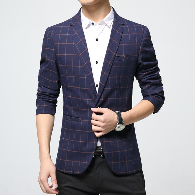 Mens Korean slim fit fashion cotton blazer Suit Jacket orange blue