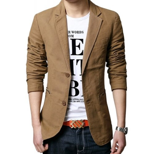 Men'S Casual Full Cotton Blazers Male Blazers Single Breasted