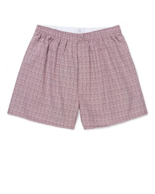 Lyst - Sunspel Men's Printed Cotton Boxer Shorts In White/claret for Men