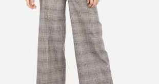 High Waisted Plaid Cuffed Cropped Pant | Express