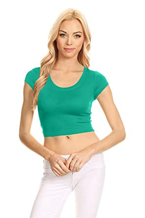 Basic Short Sleeve Crop Top for Women, Scoop Neck Crop Top Shirts
