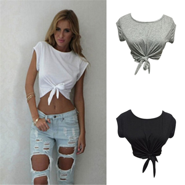 Women Knotted Tie Front Crop Tops Cropped T Shirt Casual Blouse