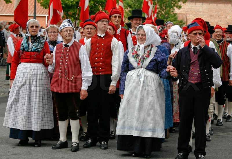Group of Danish folk dancers in their  | Stock Photo | Colourbox