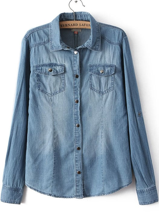 Blue Lapel Long Sleeve Bleached Denim Blouse | SHEIN