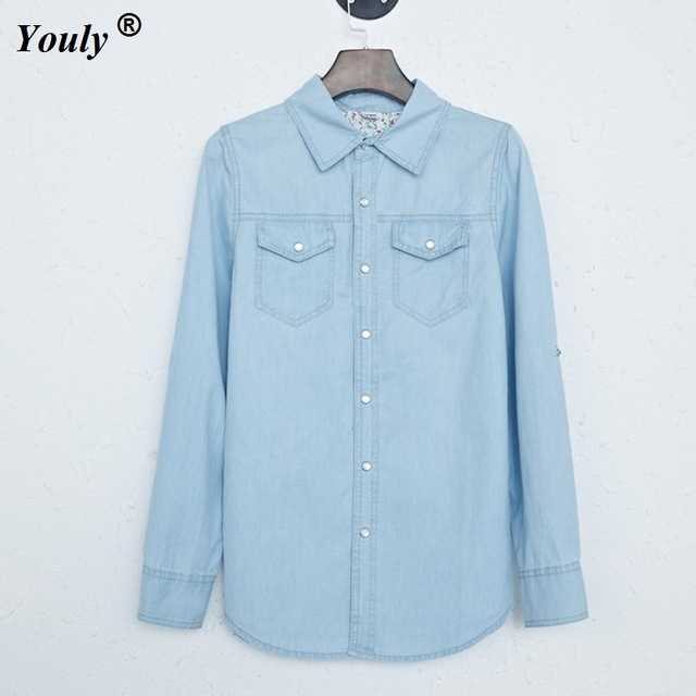Fashion Cotton Denim Blouses Long Sleeve Shirts Women Tops Jeans