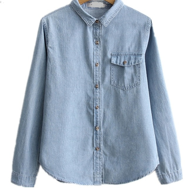 Aliexpress.com : Buy Denim Shirt Blouse Women's Long Sleeve Button