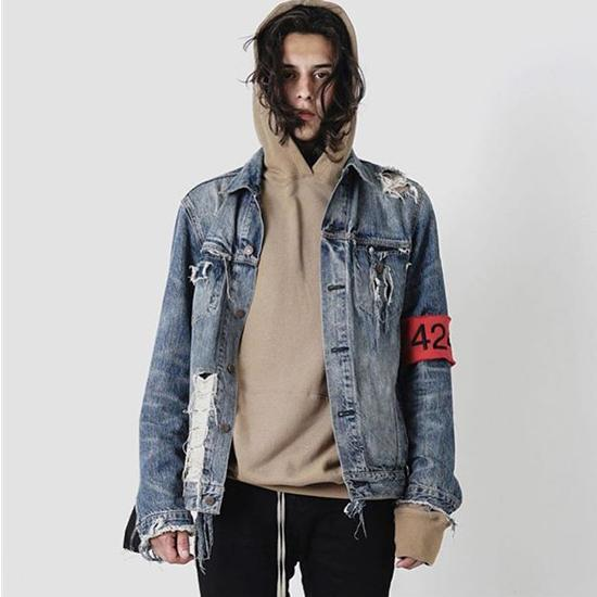 424 Denim Biker Jacket For Men Hip Hop Ripped Distressed Jean