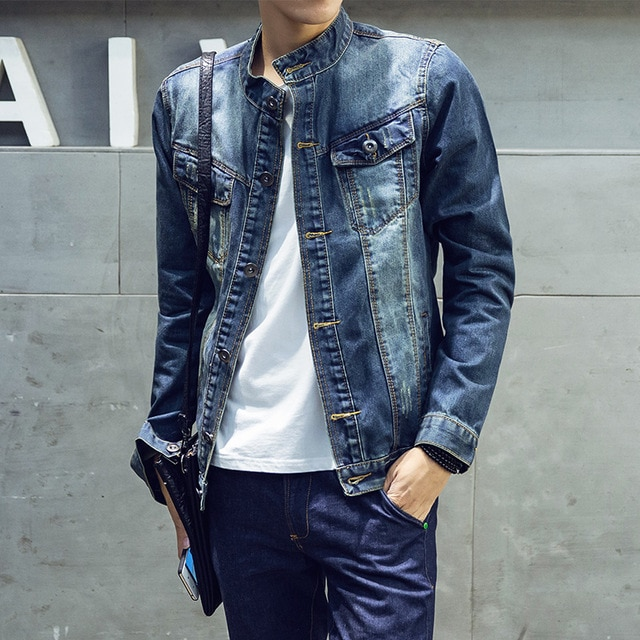 Slim Fit Denim Jacket Men High Quality Fashion Jeans Jackets Solid