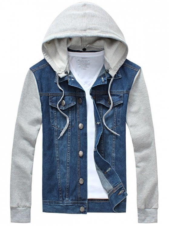 37% OFF] 2019 Panel Design Denim Jacket With Detachable Hood In BLUE