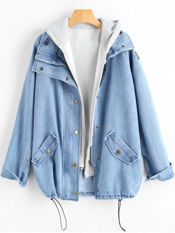 52% OFF] [HOT] 2019 Button Up Denim Jacket And Hooded Vest In LIGHT
