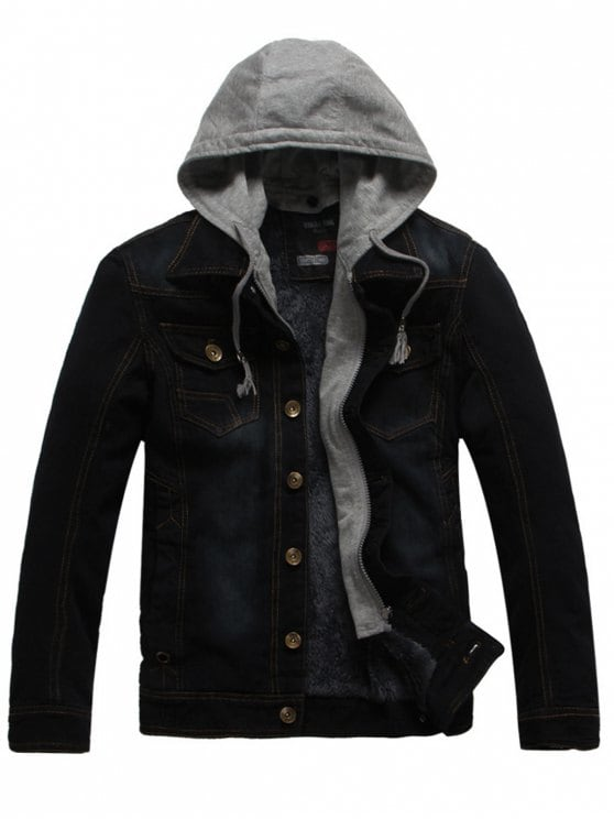 62% OFF] 2019 Faux Fur Lining Zip Hooded Denim Jacket In BLACK 3XL