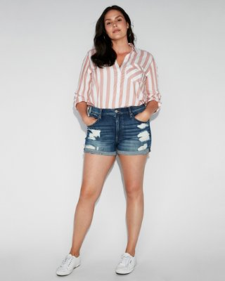 High Waisted Relaxed Distressed Stretch+ Denim Shorts | Express