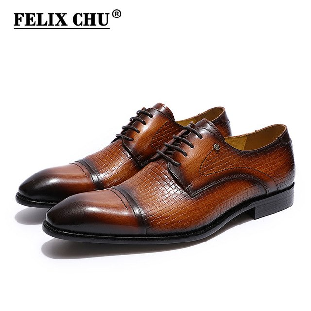 FELIX CHU Italy mens dress shoes genuine leather cap toe derby shoes