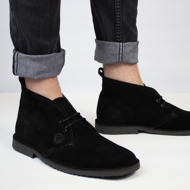 Popps™ ORIGINAL Unisex Suede Desert Boots Black | Buy At Shuperb