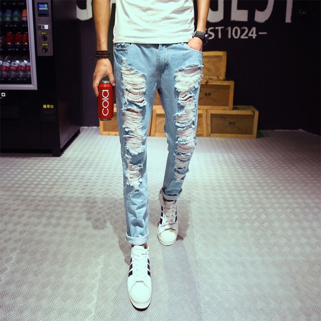 New mens jeans brand destroyed hole jeans straight men's robin jeans