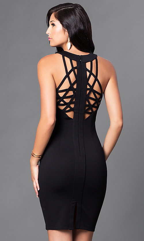 Cheap Little Black Party Dress with Back Cut Outs