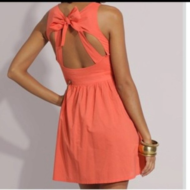 dress, peach dress, bow back dress, cut-out dress, bow, pink, open