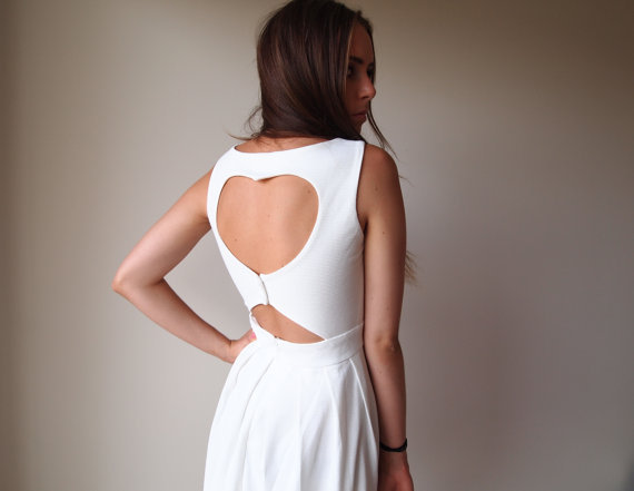 White Heart Back Cut Out Dress on Wanelo
