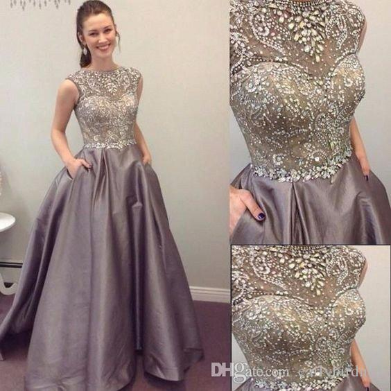 New Luxury Crystals Beading Formal Evening Dresses 2018 Crew Neck