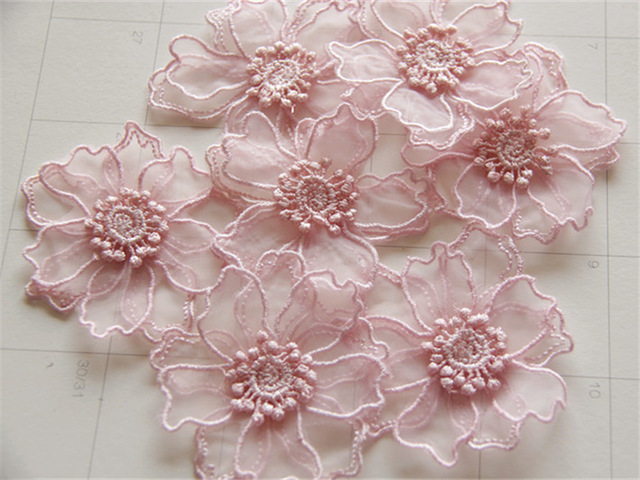 30pc 6.5cm 3d Embroidered Flower Patch Fabric Flowers Applique