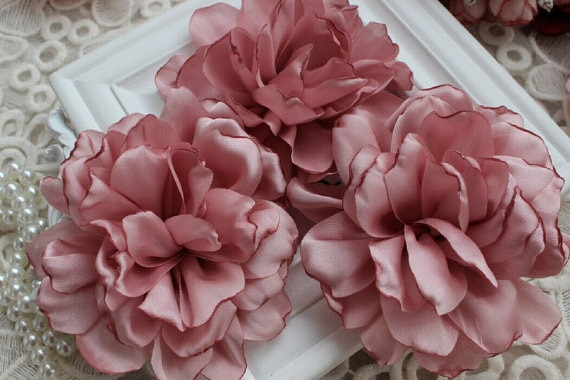 Pink Chiffon Flower Rose Soft Chiffon Fabric Flowers Bridal Wedding