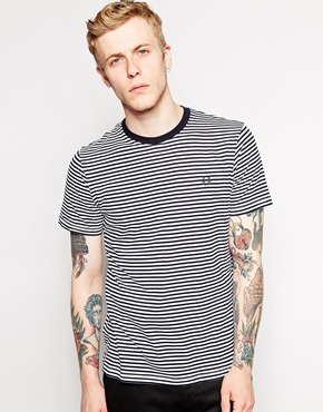 Fred Perry T Shirt With Fine Stripe, $60 | Asos | Lookastic.com