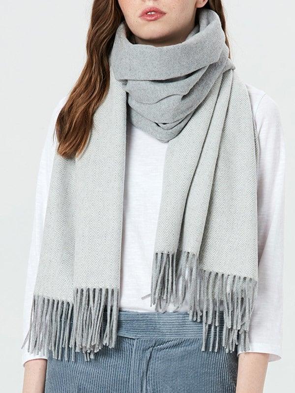 100% OFF ] 2019 Elegant Color Block Fringed Scarf | Rosegal.com