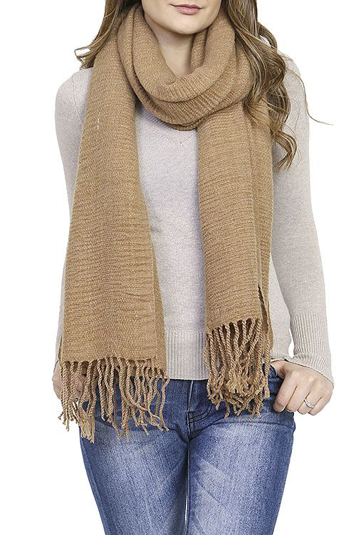 Le Chic, LLC Camel Fringed Scarf Scarves