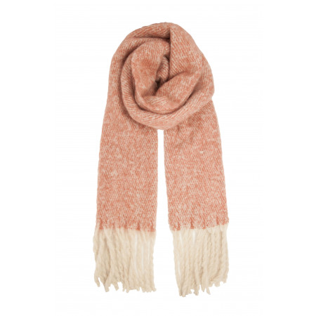 Herringbone Mohair Look Fringed Scarf, Blush and White Colour