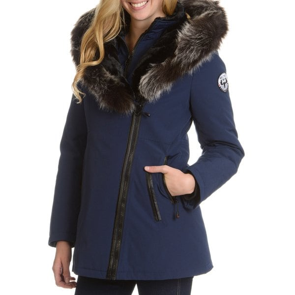 Shop Women's Down Jacket with Faux Fur Trim Hood - Free Shipping